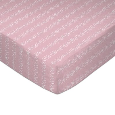 Lolli Living Baby Crib Fitted Sheet - Pink Vines