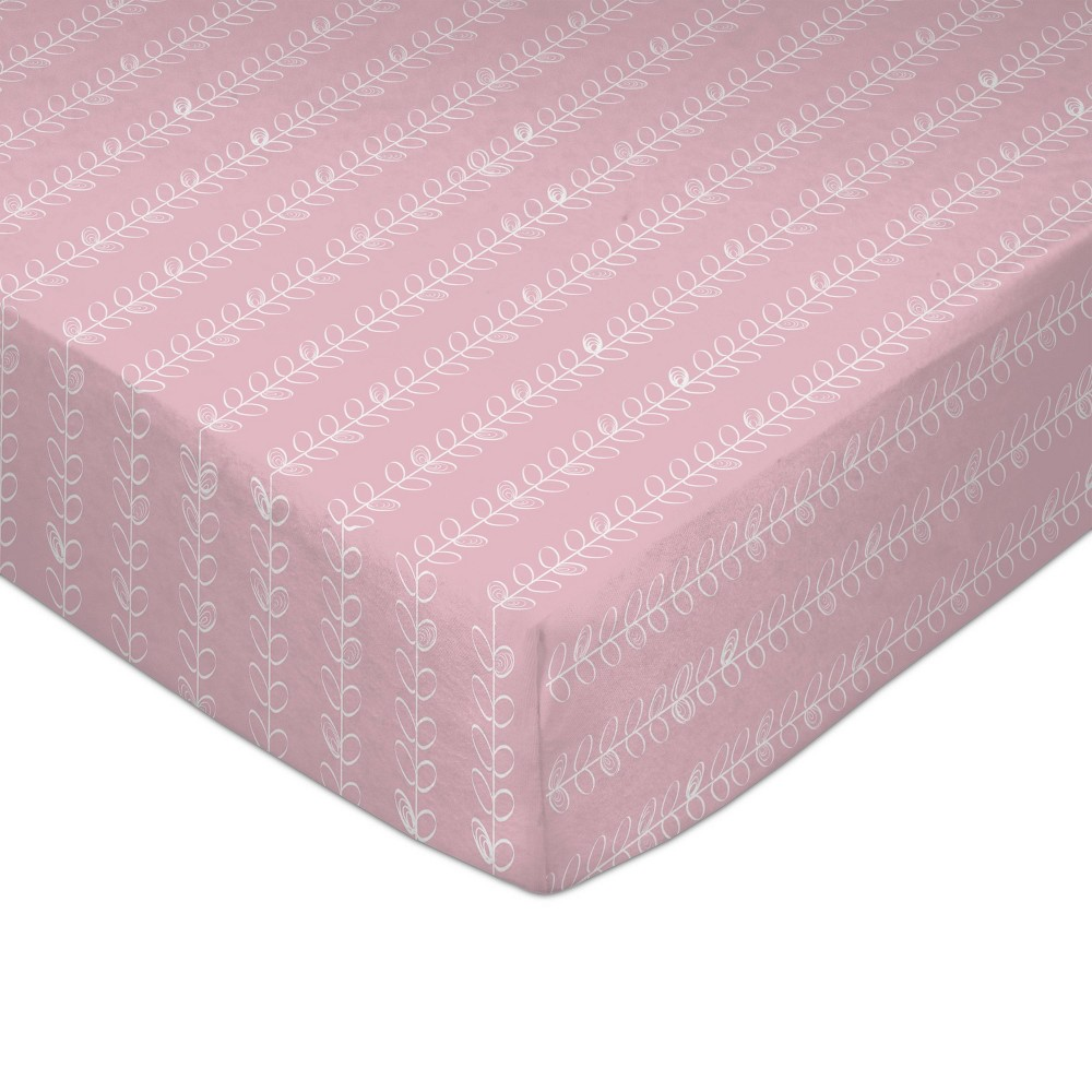 Image of Lolli Living Baby Crib Fitted Sheet - Pink Vines