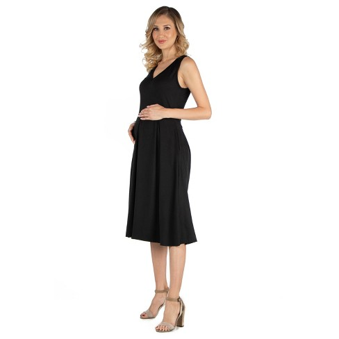 24seven Comfort Apparel Women's Maternity Fit and Flare Midi Dress - image 1 of 3