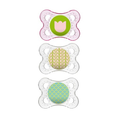 MAM Clear Triple Pack 0-6 Months - Pink/Clear 3ct