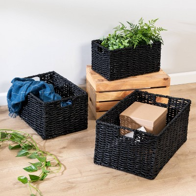 Honey-Can-Do 3pc Maize Baskets Black