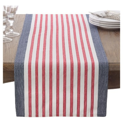 "16""x72"" American Flag Table Runner Navy Blue - Saro Lifestyle"