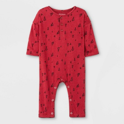 Grayson Mini Baby Jersey Henley Romper - Red