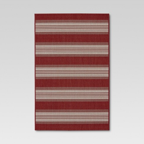 Bold Stripe Red Outdoor Rug 8 X10 Threshold