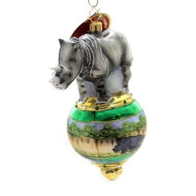 "Christopher Radko 6.5"" Rambunctious Rhino Ornament Endangered Wildlife  -  Tree Ornaments"