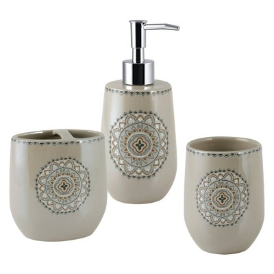 3pc Medallion Ikat Lotion Pump, Toothbrush Holder, Tumbler - Allure