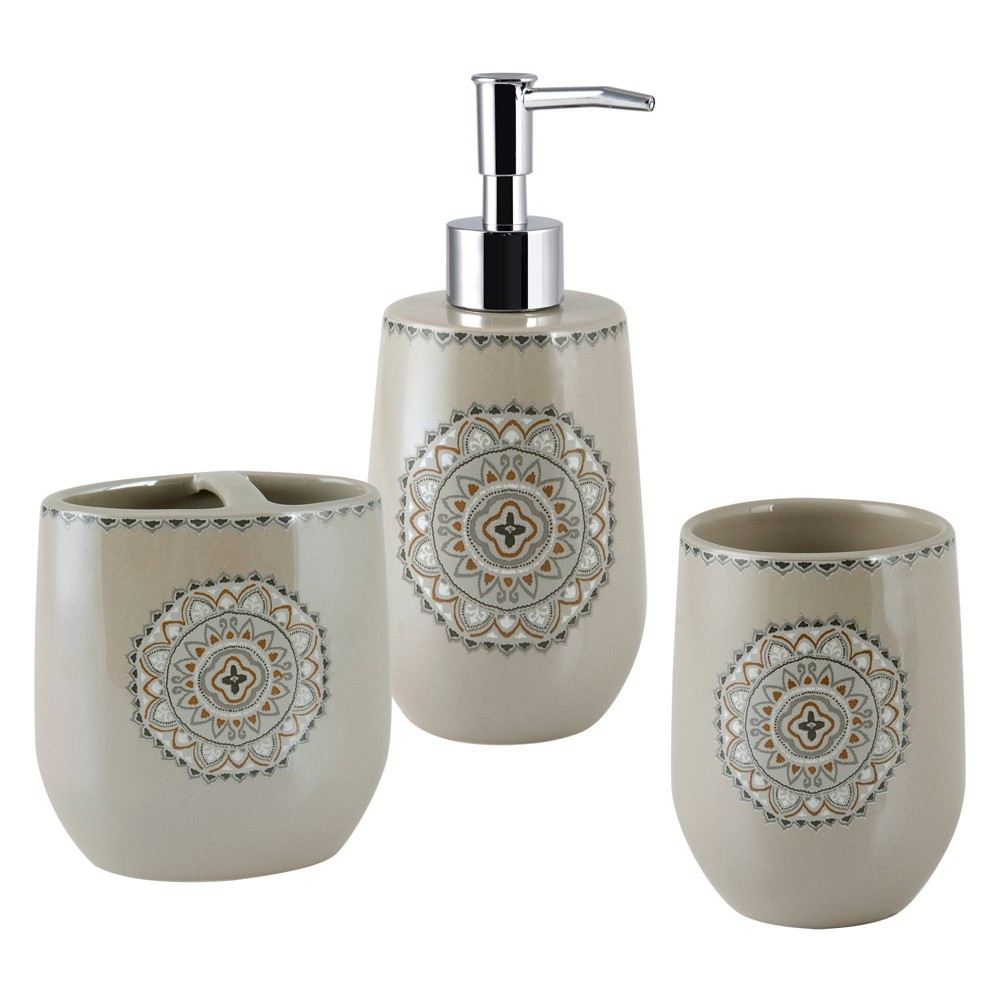 Image of 3pc Medallion Ikat Lotion Pump, Toothbrush Holder, Tumbler - Allure