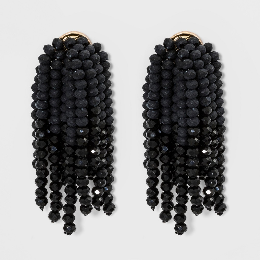 Beaded Drop Earrings - A New Day Black