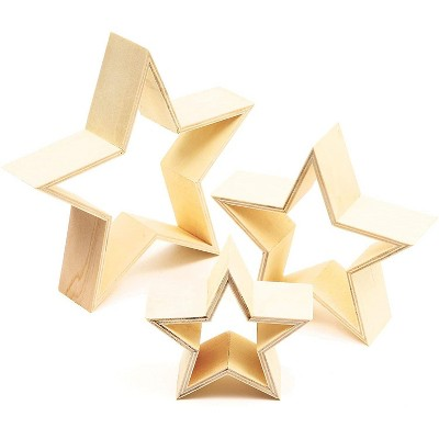 3 Pack Unfinished Wood Framed Stars for DIY Craft Projects, Painting and Display Photos in 3 Sizes