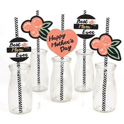 Big Dot of Happiness Best Mom Ever Paper Straw Decor - Mother's Day Party Striped Decorative Straws - Set of 24