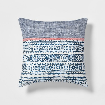Block Print Square Throw Pillow Blue/White - Threshold™
