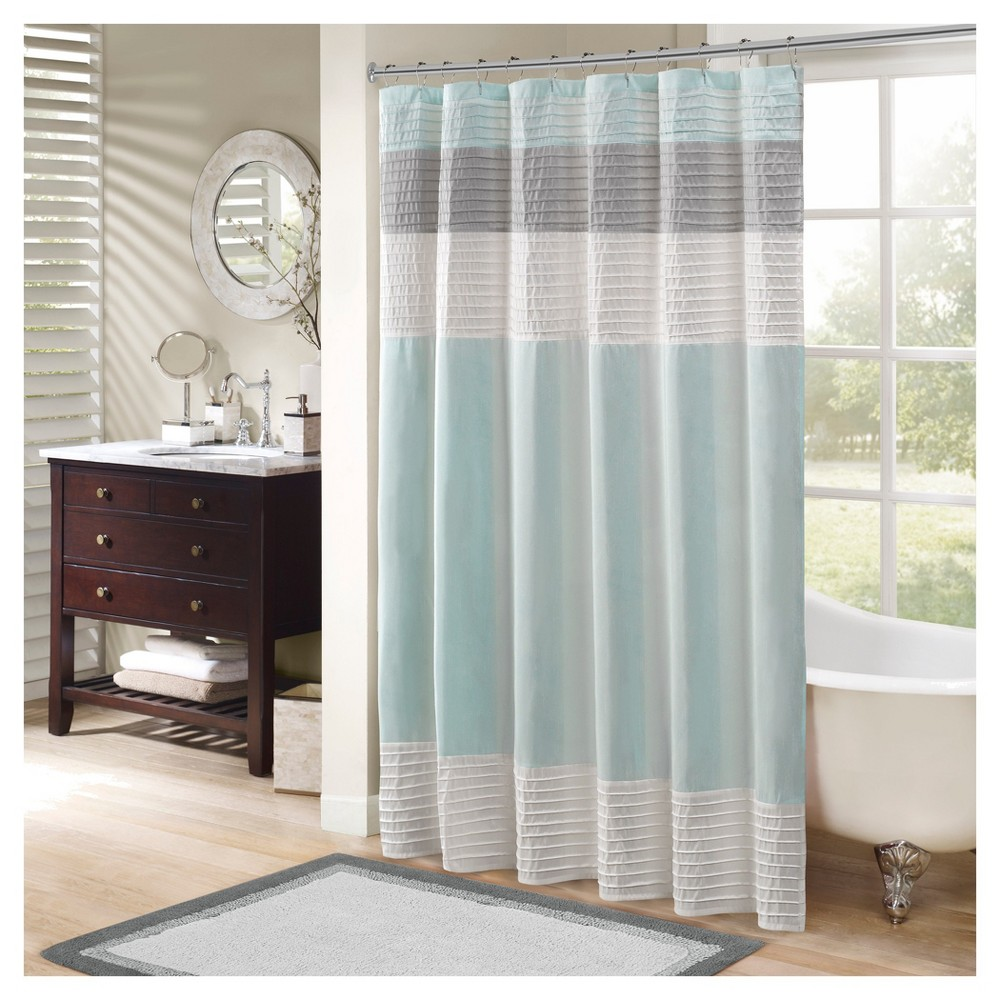 Salem Faux Silk Shower Curtain - Aqua (Blue)
