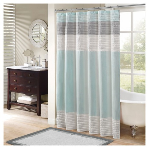 Salem Stripe Block Polyester Shower Curtain With Pintucking