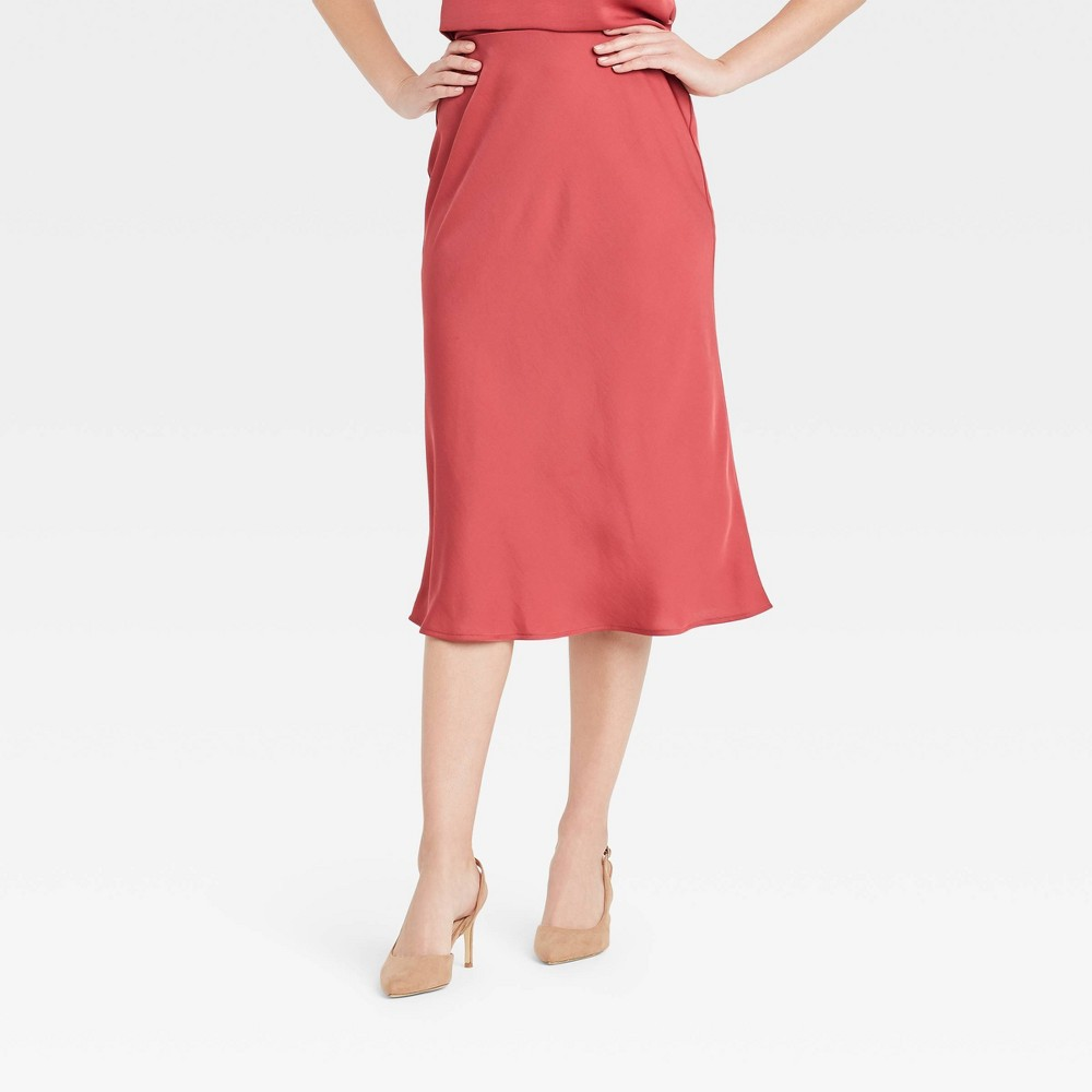 Women 39 S High Rise Midi Slip A Line Skirt A New Day 8482 Dark Pink Xl
