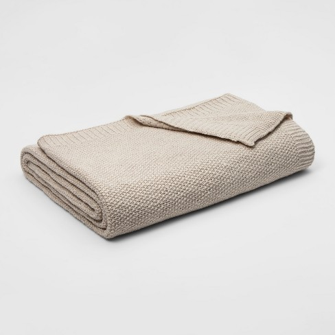 Full/Queen Sweater Knit Bed Blanket Tan - Threshold™ - image 1 of 1