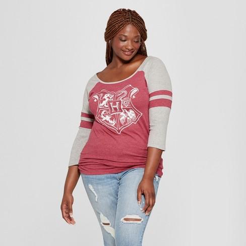 d4c5618a98f Women s Harry Potter Plus Size 3 4 Sleeve Hogwarts Crest Raglan Graphic T- Shirt (Juniors ) Burgundy