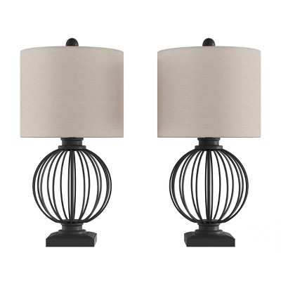 2pc Wrought Iron Open Cage Orb Table Lamps