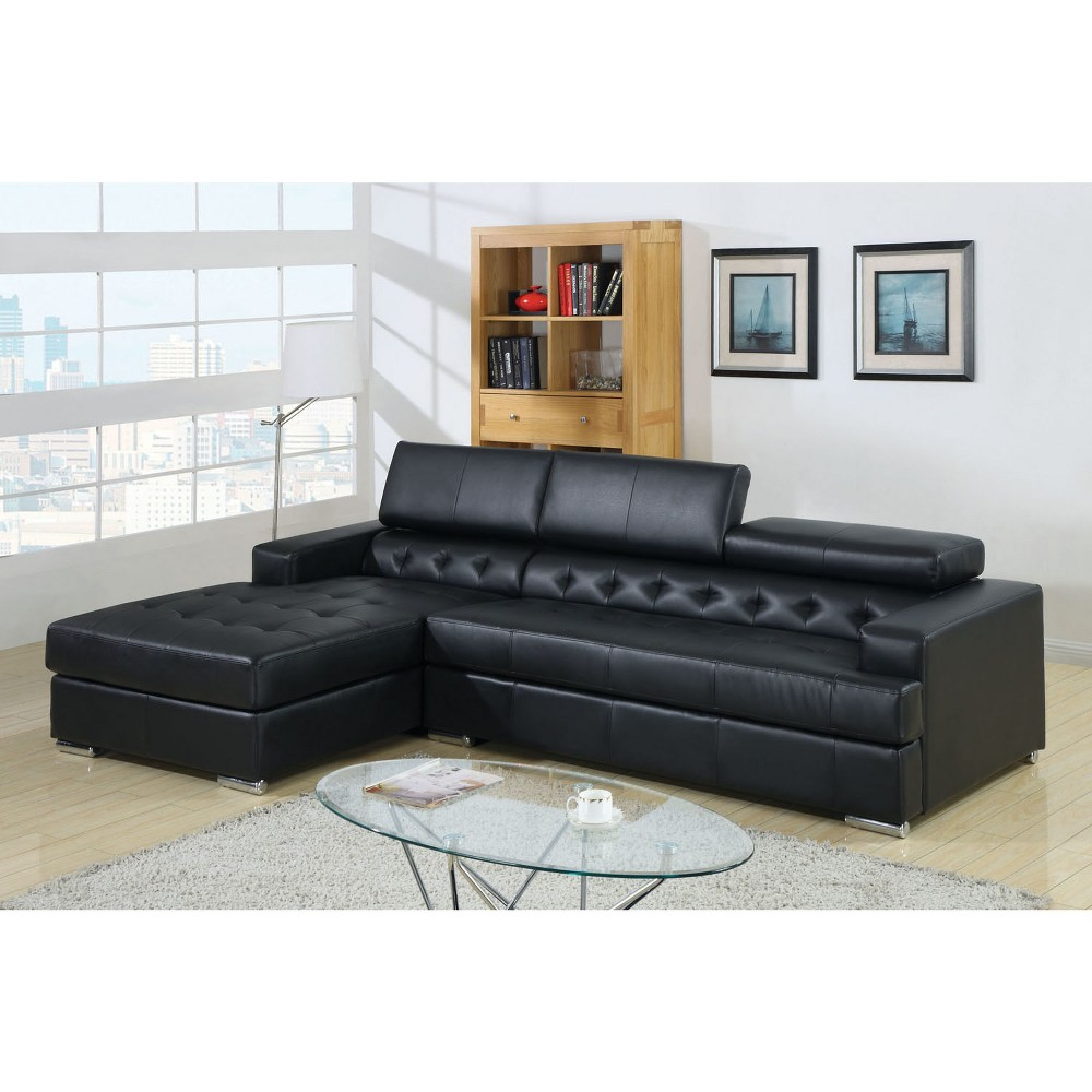 ioHomes Braden Tufted Leatherette Sofa in Black