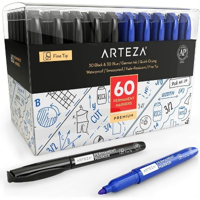 Arteza Permanent Marker, Black & Blue, Fine Tip - Pack of 60