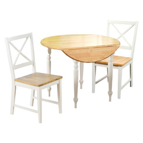 3 Piece Virginia Dining Set Wood/White - TMS - image 1 of 1