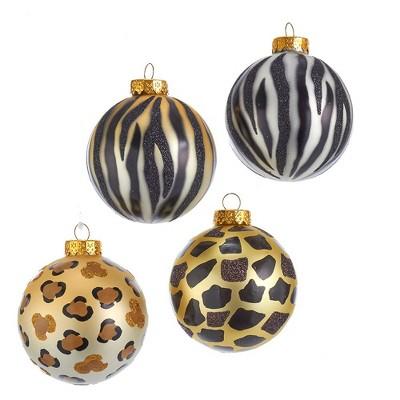 Kurt Adler 80MM Gold, Silver and Black Animal Glass Ball Ornaments, 6 Piece Box
