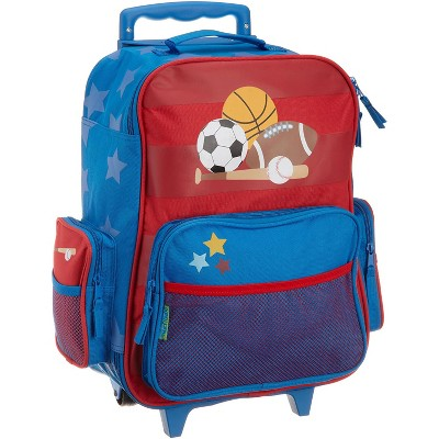 Stephen Joseph Fun Kids Themed Classic Rolling Luggage Polyester Carry On Suitcase with Multiple Pockets and Extendable Handle, Sports