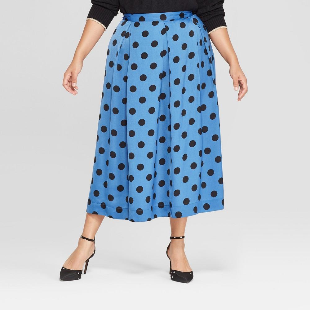 Women's Plus Size Polka Dot Birdcage Midi Skirt - Who What Wear Blue/Black 14W