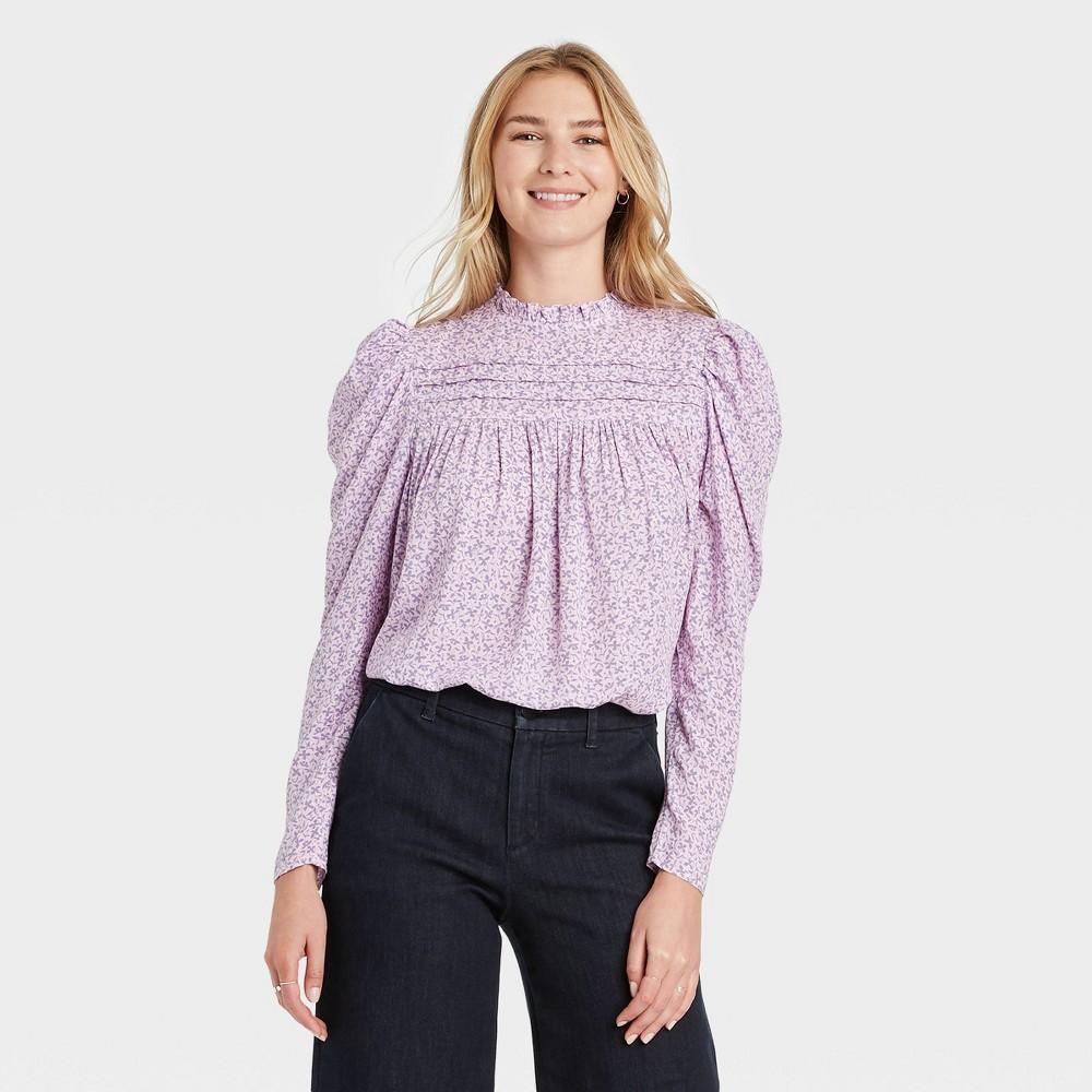 Women 39 S Floral Print Long Sleeve Pintuck Top A New Day 8482 Purple Xl