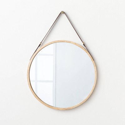 "26"" Wood Mirror with Pleather Strap Hanger - Threshold™ designed with Studio McGee"