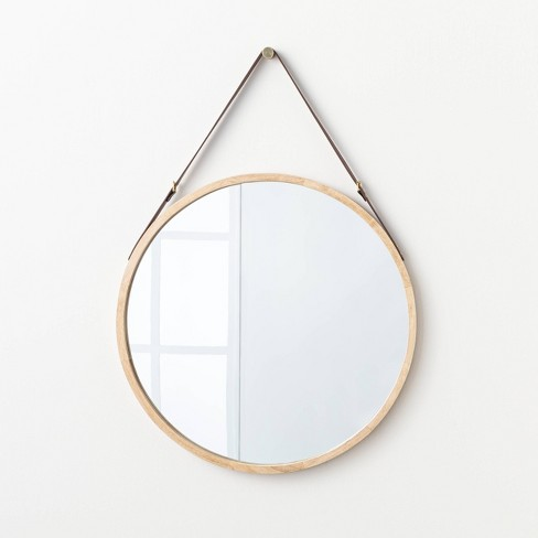 """26"""" Wood Mirror with Pleather Strap Hanger - Threshold™ designed with Studio McGee - image 1 of 4"""