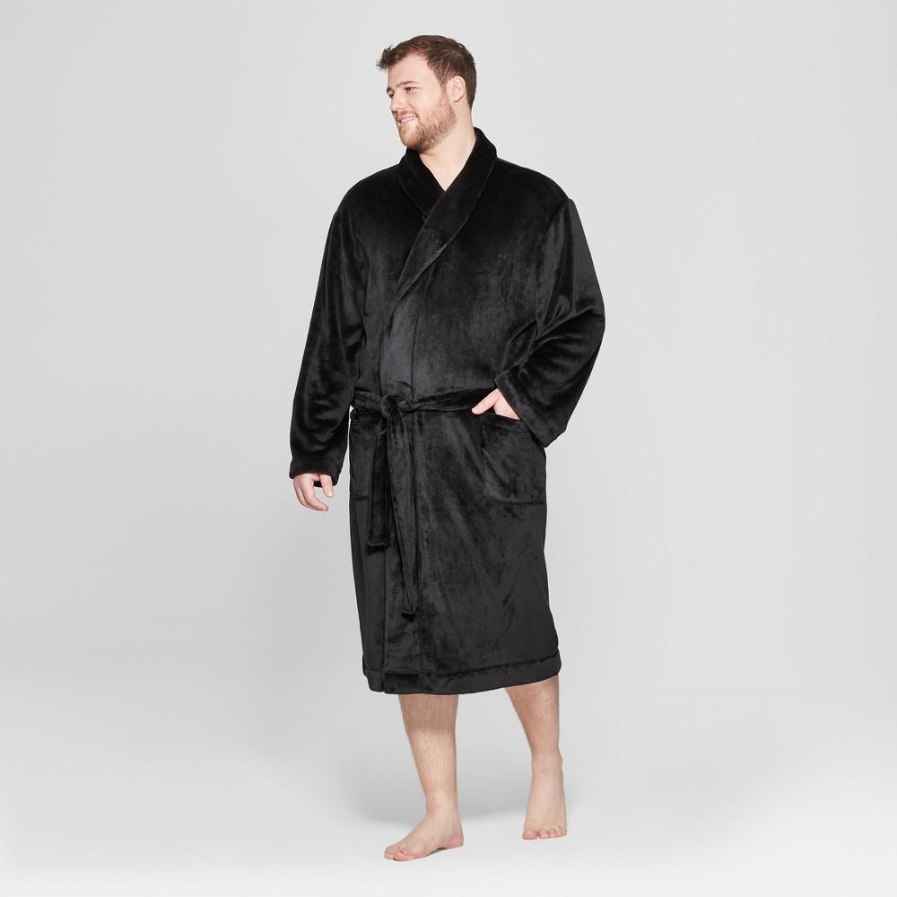 Men's Big & Tall Plush Robe - Goodfellow & Co Black 2XB/3XB