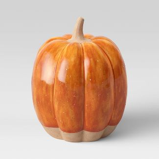 "4.5"" x 3.3"" Decorative Ceramic Pumpkin Orange - Threshold™"