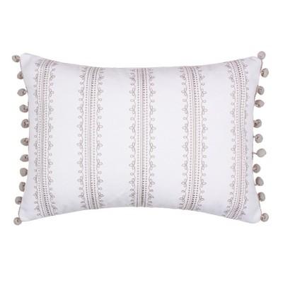 Novara Embroidered Grey Stripe Decorative Pillow - Levtex Home