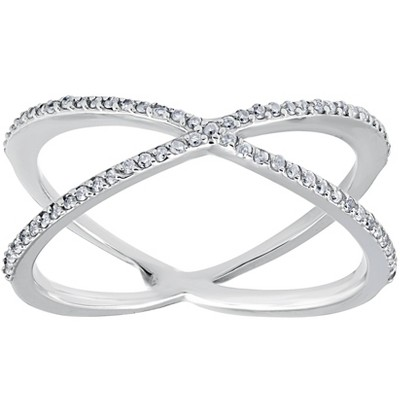 Pompeii3 1/5CT 10K White Gold Round Diamond Crossover Cocktail Fashion Statement X Ring