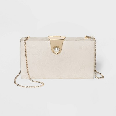 Estee & Lilly Bar Clasp Closure Pearl Closure Clutch - Light Gold