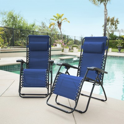 2pc Infinity Zero Gravity Chairs - Blue - Caravan Global