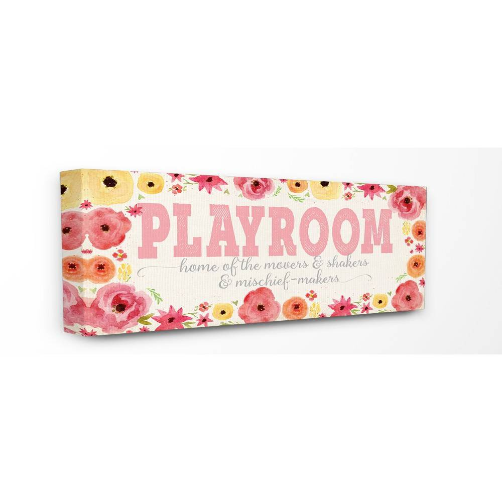 "Image of ""10""""x1.5""""x24"""" Playroom Home of Mischief Makers Stretched Canvas Wall Art Pink - Stupell Industries"""