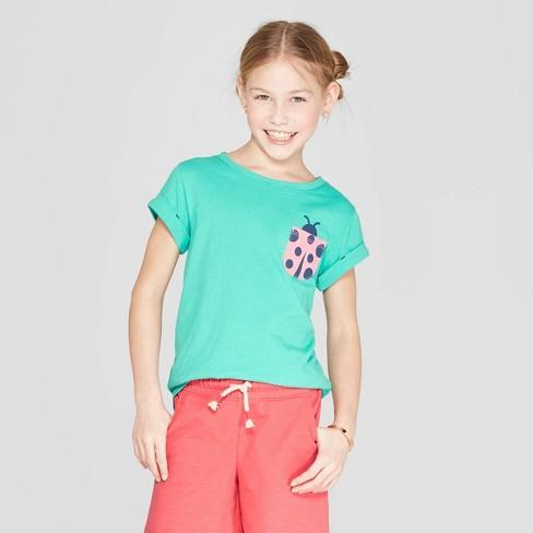 d580b20cdff Girls  Short Sleeve Ladybug Pocket T-Shirt - Cat   Jack™ Green   Target