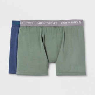 Pair of Thieves Men's SS 2pk Boxer Briefs - Navy/Green S