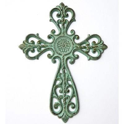 Lakeside Cast Iron Wall Hanging Cross with Ornate Scrollwork