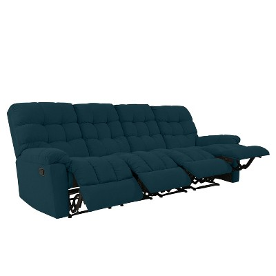 Alma 4 Seat Tufted Wall Hugger Recliner Sofa Plush Low Pile Velour Peacock Blue - ProLounger