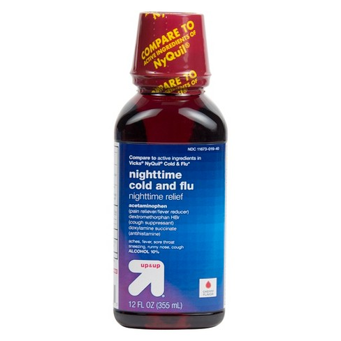 Nighttime Cold & Flu Relief Liquid - Cherry - 12 fl oz - Up&Up™ - image 1 of 1