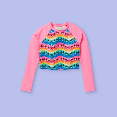 Girls' Tie-Dye Long Sleeve Rash Guard Swim Shirt - More Than Magic™