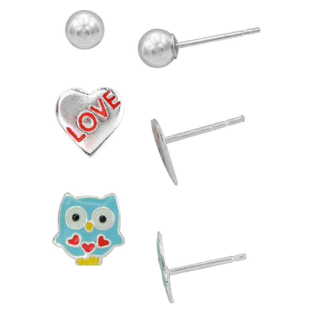 """Target Girls' Sterling Silver 3PR-Ball/""""Love"""" Heart/Ename..."""