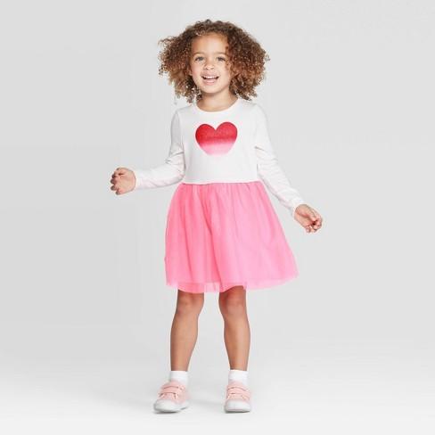 Toddler Girls' Heart Tulle Dress & Skirt Set - Cat & Jack™ Cream/Pink - image 1 of 3