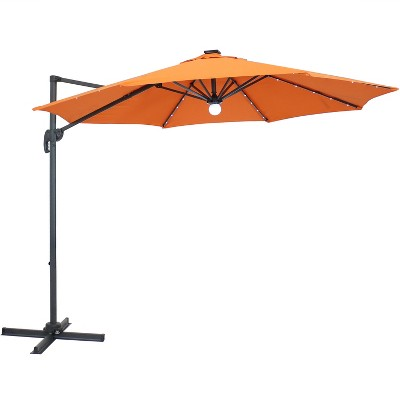 Offset Solar LED Lighted Patio Umbrella - Orange - Sunnydaze Decor