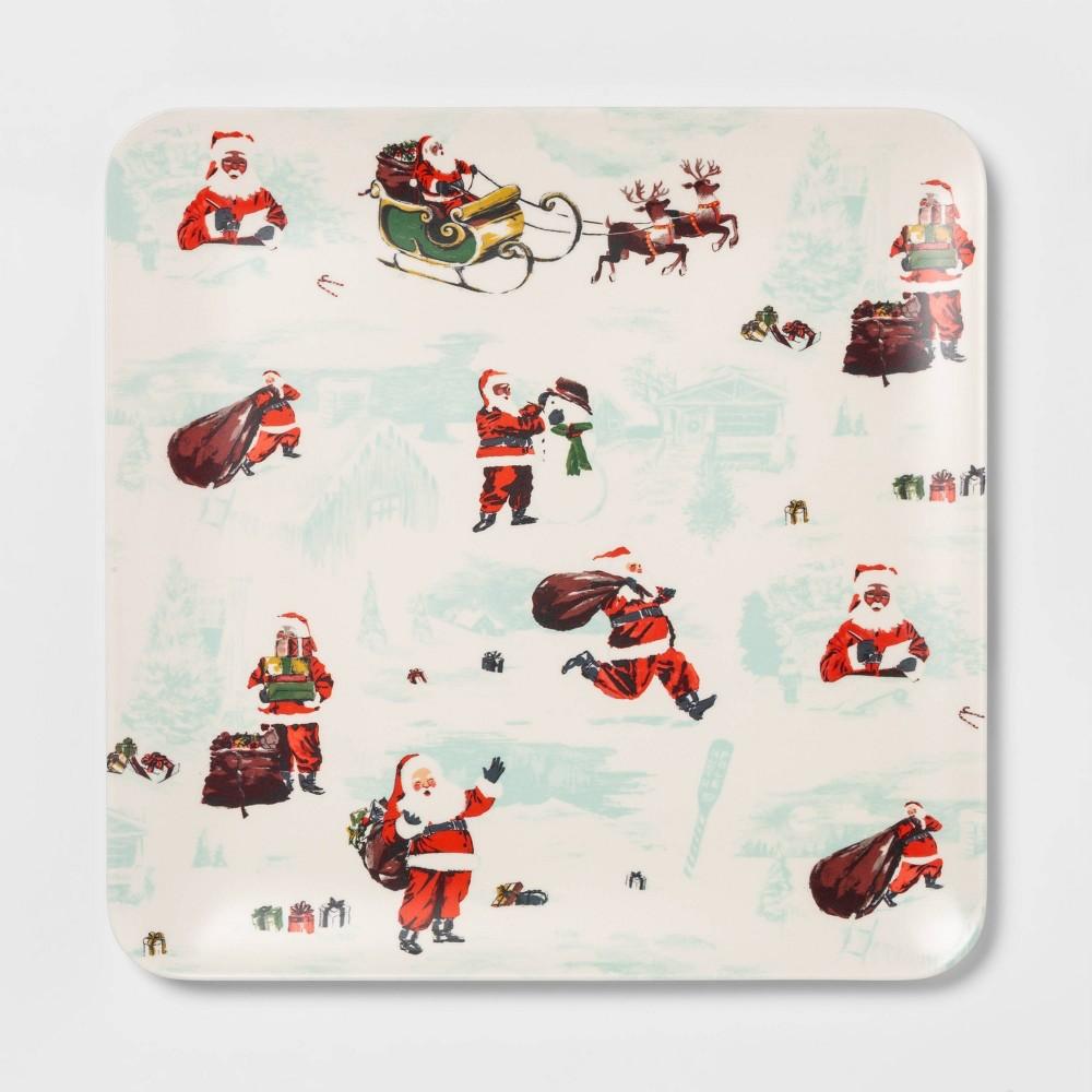 "Image of ""12.6"""" Melamine Square Santa Serving Tray White - Threshold"""