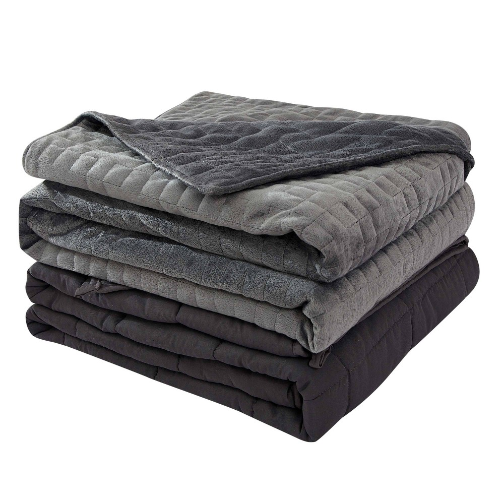 "Image of ""48"""" x 72"""" 15lbs Microfiber Weighted Blanket with Duvet Cover Gray - Dreamothis"""