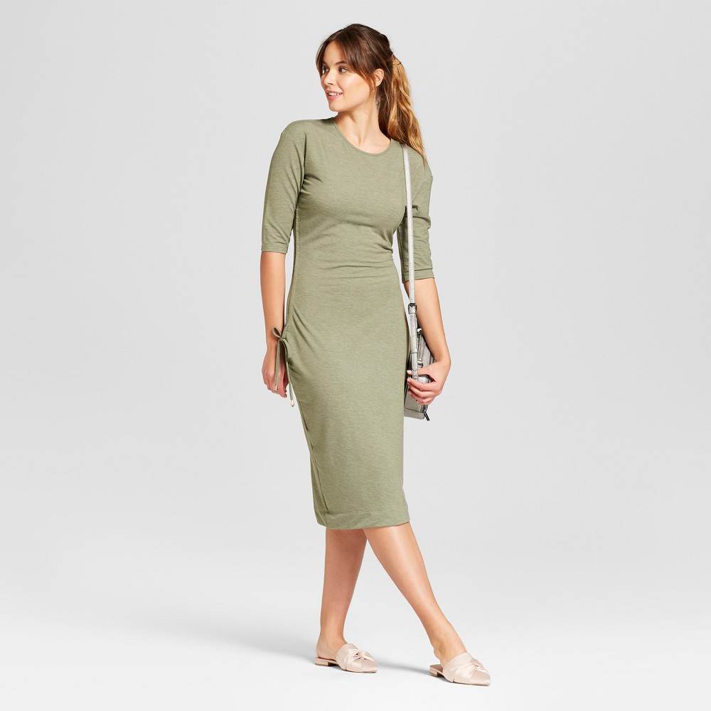 Women's Heathered Cinched Waist Dress - A New Day Olive (Green) XS