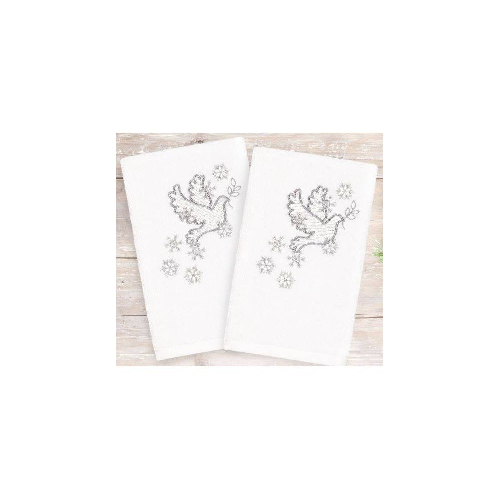 Image of 2pk Doves Holiday Hand Towels - Linum Home Textiles, White